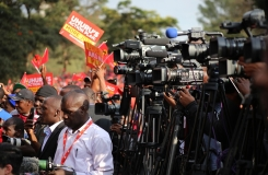 Local and international Media covering just concluded General Elections at Uhuru Park, Nairobi. Photo/Billy Mutai