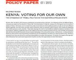 Paper: Kenya - Voting for our own