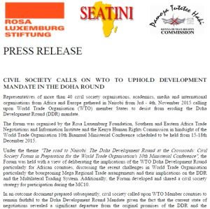 Press release: Civil society calls on WTO to uphold development mandate