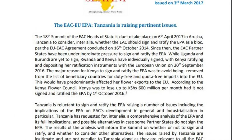 STATEMENT: THE EAC- EU EPA: TANZANIA IS RAISING PERTINENT ISSUES