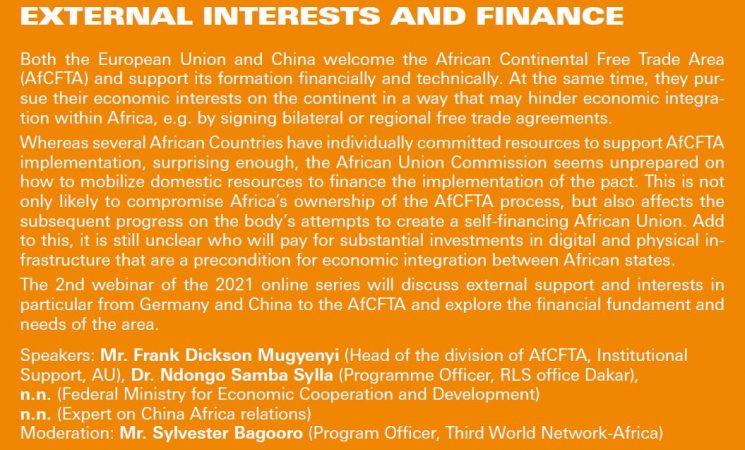Webinar on AFCFTA CONTEXT: EXTERNAL INTERESTS AND FINANCE - Thursday | 6.5.2021 | 10:00–12:00 CET