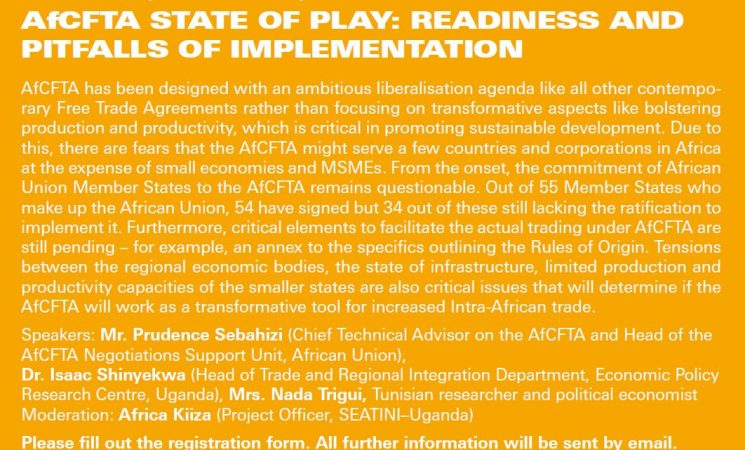 Webinar on AfCFTA STATE OF PLAY: READINESS AND PITFALLS OF IMPLEMENTATION - Thursday | 25.3.2021 | 10am CET